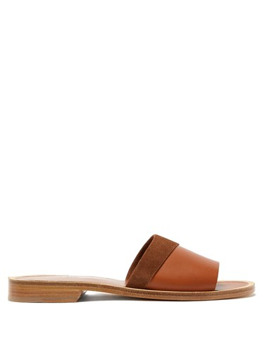 A.P.C. Kenza Leather And Suede Slides Tan PiOGwkx
