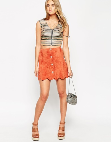Suede A Line Skirt With Button Through And Scalloped Hem Rust