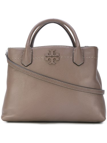 Triple Mcgraw Tory Burch Tote Brown Compartment Bag Leather S1yUZwyq