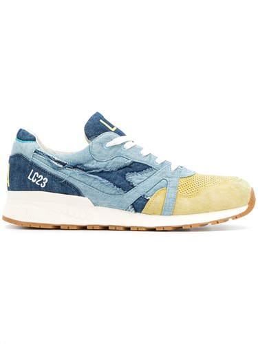 Diadora Panelled Perforated Sneakers Blue crTqaG65wq