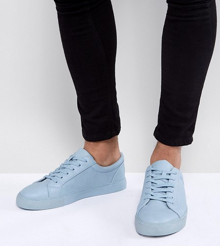 Asos Wide Fit Lace Up Trainers In Pastel Blue Block Blue 7lpBoHg