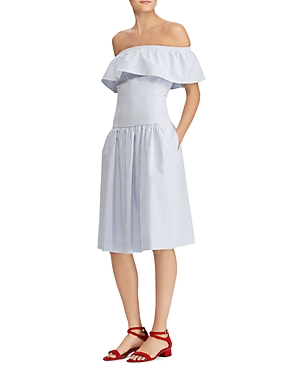 Ralph Lauren Striped Off The Shoulder Dress White Blue CHkDcYHNY