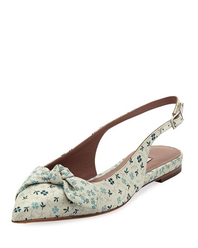 Tabitha Simmons Knotty Floral Pointed Slingback Flat Multi S38eT