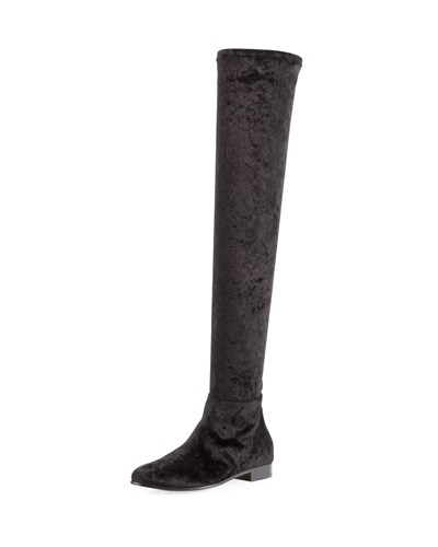 Jimmy Choo Myren Crushed Velvet Over The Knee Boot Black xMc8sa