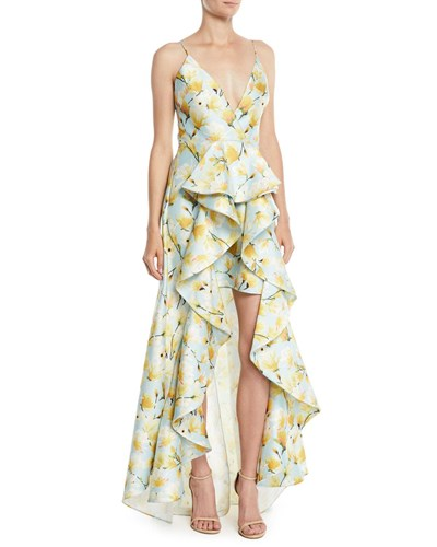 Mikado Print Low Collection Light Blue Floral Gown Ruffle Badgley Mischka High qw46II