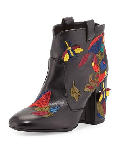 Boot Pete Western Embroidered Pattern Leather Laurence Dacade Black X5Awwg