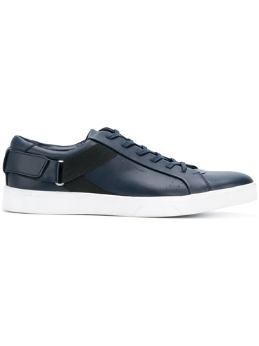 Calvin Klein Elastic Panel Sneakers Calf Leather Leather Rubber Blue zARpzo