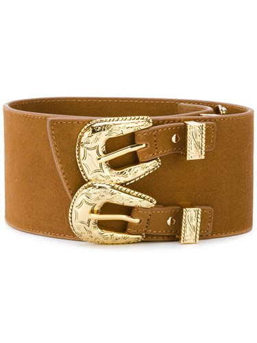 Double Buckle Western Women Leather S Brown