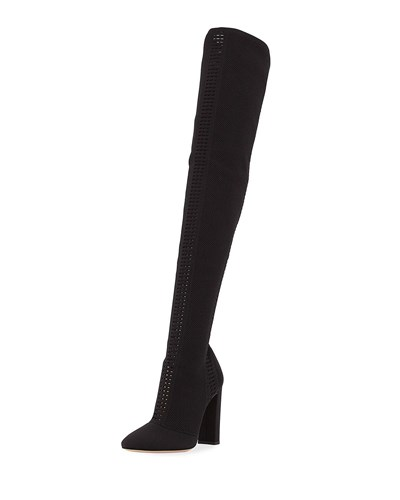 Gianvito Rossi Thurlow Cuissard Knit Over The Knee 105Mm Boot Black 9DdrADM