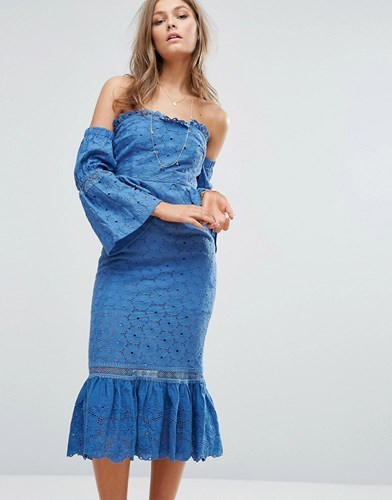 Foxiedox Off The Shoulder Midi Dress With Ruffle Details Blue NIV7qBsHZ7