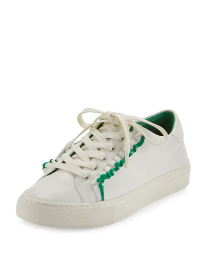 Sneaker Ruffle Low Sport Leather Tory Top Green White XwtqF