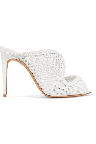 Alexandre Birman Tanny Woven Leather Mules White gZvdt