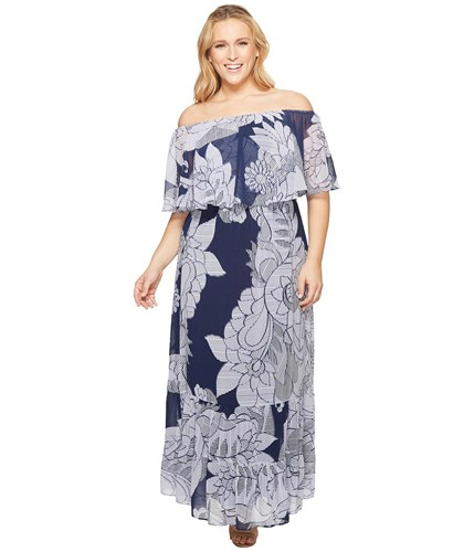 Navy Chiffon Off Printed Donna Shoulder Dress Morgan Maxi Size Lilac Plus Multi The OqIFqnZxwv