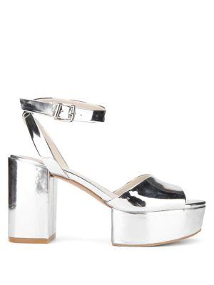 Kenneth Cole Pheonix Metallic Platform Sandals Silver ByOXedl
