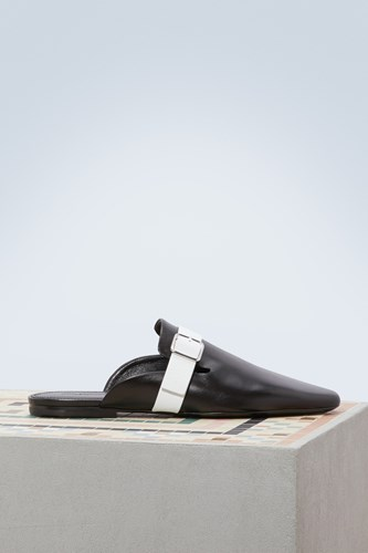 Jil Sander Leather Mules Black White RuFd1