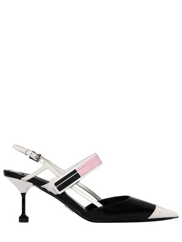 Prada 65Mm Rubber Strap Brushed Leather Pumps Black White B2Ydrs