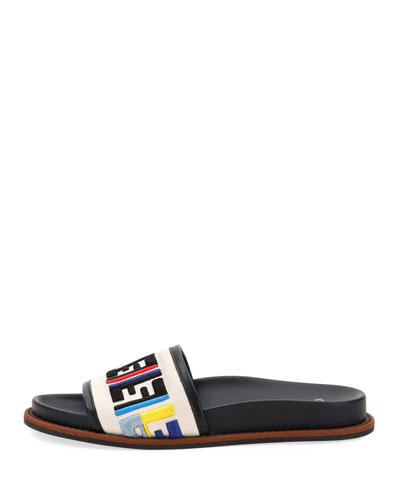 Fendi Ff Logo Embroidered Flat Sandal Multi UWAi7EYd