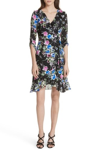 Milly Floral Wrap Audrey Dress Black Silk 5F8rFxwq