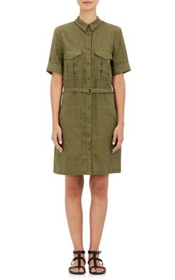0 Shirtdress New York Weave Women's Us Barneys Plain Green Size Linen zUOwfHCqx