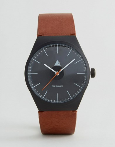 Watch In Black With Tan Strap Black