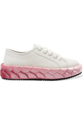 Marco De Vincenzo Leather And Quilted Velvet Sneakers Pink lyjvy