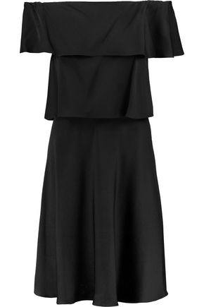 Satin Off Sonia Black Rykiel Tiered Dress Shoulder The 5qwZwXB