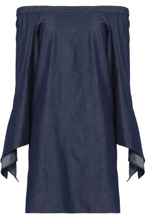 Chambray Denim Off Dress Tibi Draped Shoulder The Mini Cotton Dark qvgOXwWX