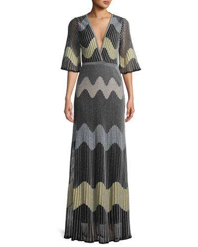 Dress Black Maxi Intarsia Wave M Missoni Metallic CxHqwwR1