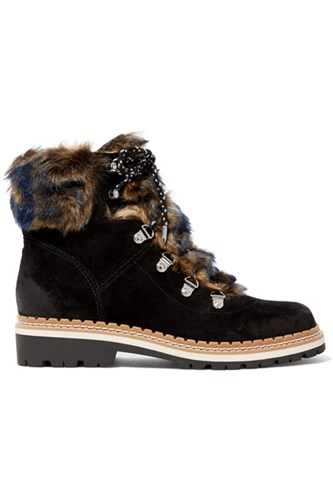 Sam Edelman Bronte Faux Shearling Trimmed Suede Ankle Boots Black pC3RdOvuu