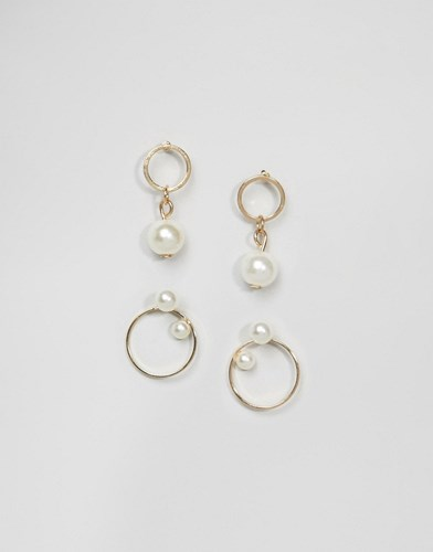 Pack Of 2 Faux Pearl And Circle Stud Earrings Cream