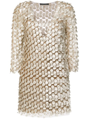 Dress And Nude Neutrals Long Alberta Ferretti Embellished Sleeved nxYqwIBz