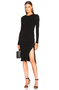 Fleur du Mal Knit Dress With Side Snaps In Black AuMIi218