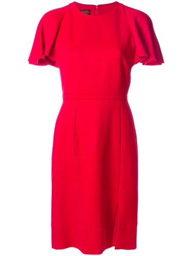 Giambattista Polyamide Red Silk Viscose Valli Ruffled Cotton Shoulder Dress rBpHqr
