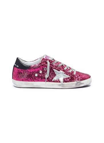 Coated Glitter 'Superstar' Goose Golden Pink Leather Sneakers wOCxtq