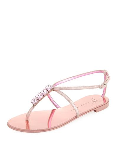 Giuseppe Zanotti Flat Jeweled Metallic Leather Thong Sandal Pink Metallic 6qmmE