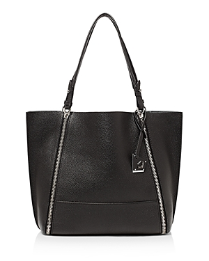 Botkier Soho Big Zip Leather Tote Black Silver rbNJtaQ