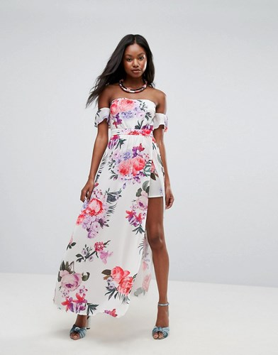 Parisian Off Shoulder Floral Maxi Dress With Shorts White agx5N2B