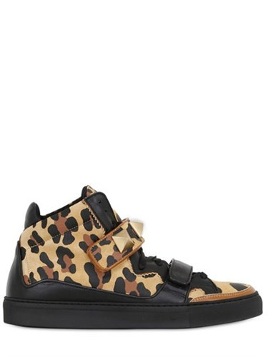 Giacomorelli Leopard Print Leather High Top Sneakers eNlXtR1