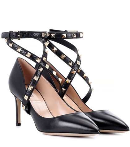 Garavani Rockstud Leather Black Pumps Valentino F8qH5xw8d