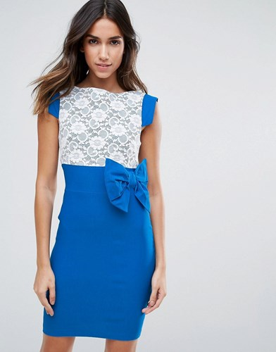 Vesper Mini Dress With Lace Panel And Bow Detail Blue 4pYEylznRB