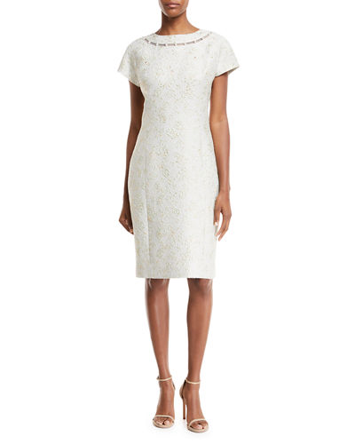 Rickie Dress Sleeve Pearly W Freeman Detail Short Jon Teri Jacquard For Celery FpqrHFw