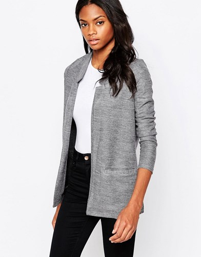 Textured Blazer Jacket Grey