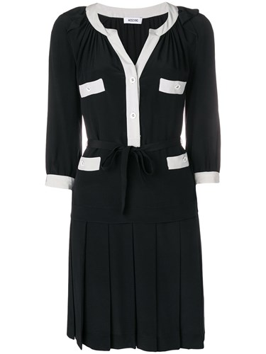 Moschino Vintage Contrast Trim Pleated Dress Black HduXPIj