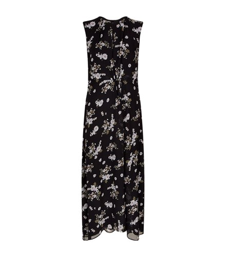 Vince Floral Print Midi Dress Black 04GVeVL