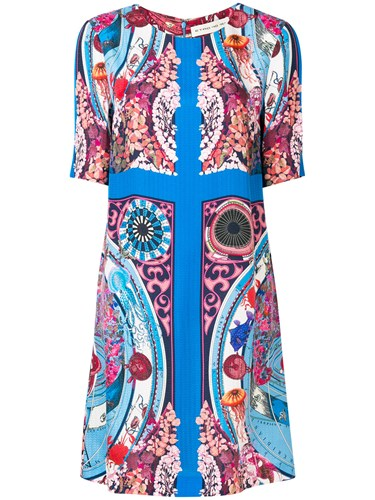 Etro Mixed Print Shift Dress Blue 0TtQlm