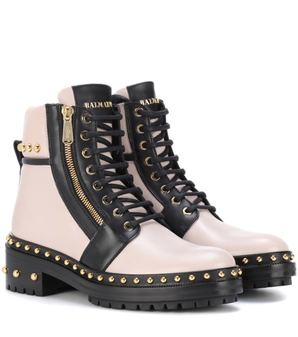 Balmain Exclusive To Mytheresa.Com Embellished Leather Ankle Boots Pink ArZWF5cklq