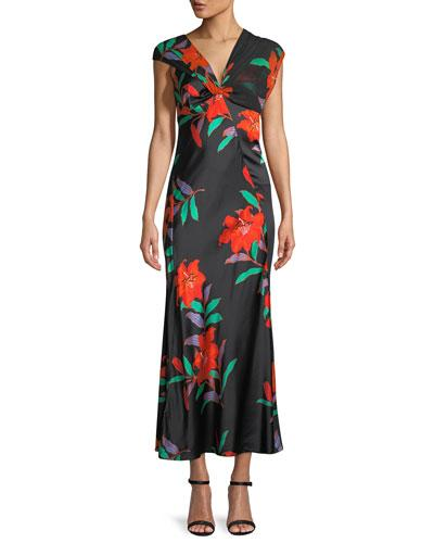 Diane von Furstenberg Floral Silk Asymmetric Sleeve Knotted Dress Black Pattern DHrSV
