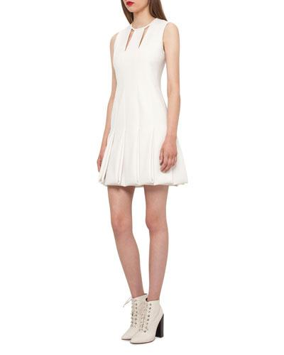 Akris Keyhole Neck Pleated Sleeveless Dress Moonstone ftZml