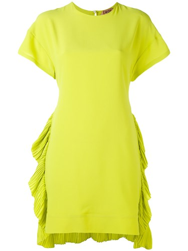 N°21 No21 Ruched Hem Dress Women Silk Acetate 42 Yellow Orange NRusC5