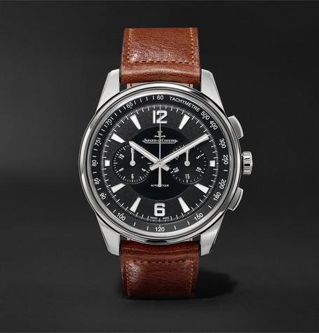 Polaris Chronograph 42Mm Stainless Steel And Leather Watch Black